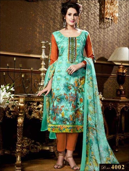 Picture of 4002 Spring Green and Multicolor Printed Straight Suit
