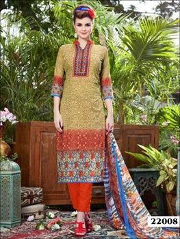 Picture of 22008 Burlywood and Orange Printed Straight Suit