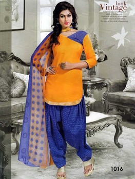 Picture of 1016 Mango Yellow Colored Mix Cotton Patiala Suit