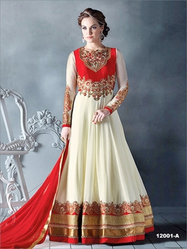 Picture of 12001A White and Red Designer Wedding Wear Anarkali Suit