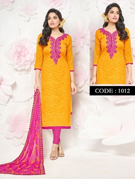 Picture of 1012Orange Designer Occasion Wear Straight Suit