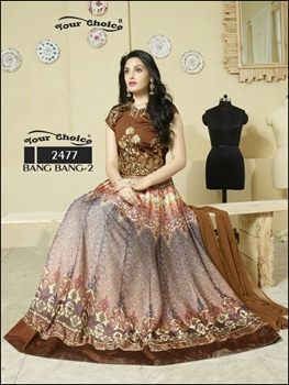 Picture of 2477Brown Shaded Anarkali Suit
