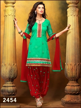 Picture of 2454Aqua Green Exclusive Patiala Suit
