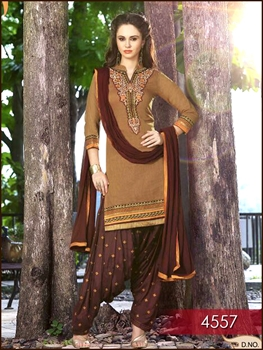 Picture of 4557 Brown Combination Designer Wear Patiala Suit
