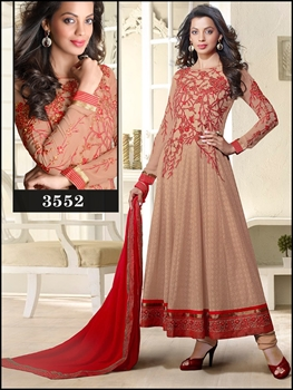 Picture of 3552Light Red Exclusive Designer Anarkali Suit