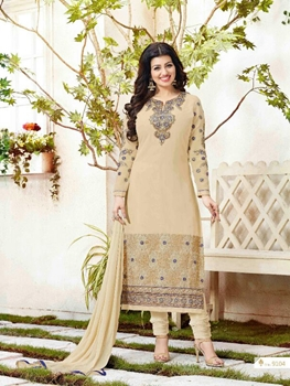 Picture of 9104 Beige Exclusive Fancy Designer Straight Suit