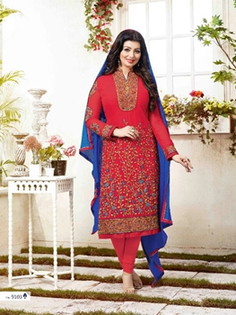 Picture of 9103 Red Exclusive Fancy Designer Straight Suit