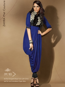Picture of 103 Pink Blue Exclusive Fancy Party Wear Designer Kurti