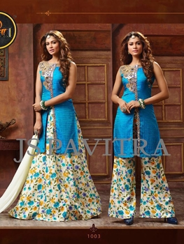 Picture of 1003SkyBlue and Multicolor Fancy Function Wear Designer Suit
