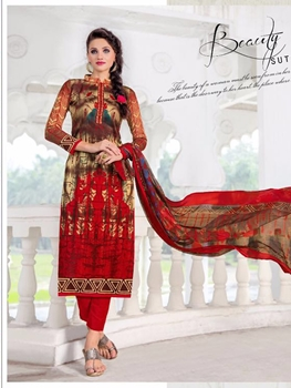 Picture of 1208 Red and Multicolor Designer Straight Suit