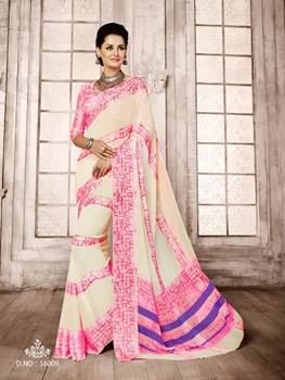 Picture of 16009Cream and Pink Exclusive Function Wear Georgette Saree