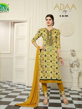Picture of 005Yellow Designer Fancy Traditional Party Wear Semistitched Straight Suit Dress Material