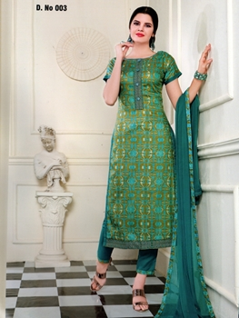 Picture of 003SpringGreen Designer Fancy Traditional Party Wear Semistitched Straight Suit