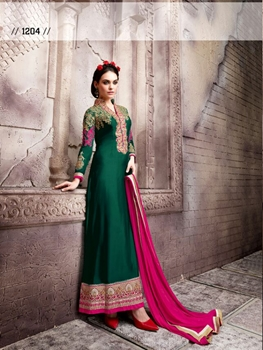 Picture of Green and Golden Designer Semistitched Party Wear Straight Suit