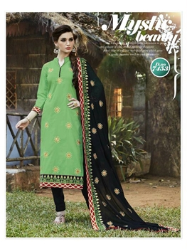 Picture of 7453 Parrot Green Designer Chudidar Suit