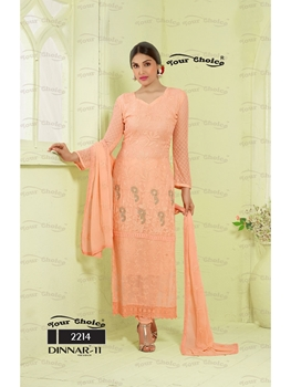 Picture of 2214LightRed Designer Party Wear Unstitched Straight Suit Dress Material