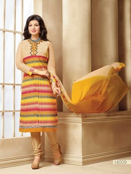 Picture of 14009Multicolor Designer Traditional Party Wear Unstitched Straight Suit Dress Material