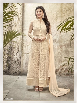 Picture of 33006Designer Ivory Embroidered Semi Georgette Semistitched Party Wear Designer Suit
