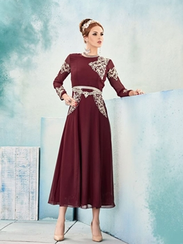 Picture of 8017 Maroon and Ivory Designer Stitched Kurti