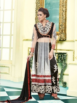 Picture of 1007Designer Black and White Net  Party Wear Semistitched Designer Suit