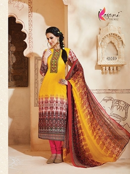 Picture of 1007Yellow and Multicolor Printed Cambric Cotton Daily Wear Straight Suit