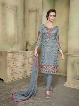 Picture of 2002Gray and Magenta Georgette with Schiffli Work Party Wear Straight Suit