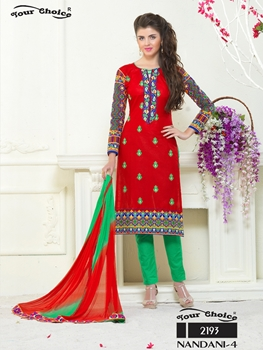 Picture of 2193Red and Green Embroidered Glace Cotton Ocassional Wear Straight Suit