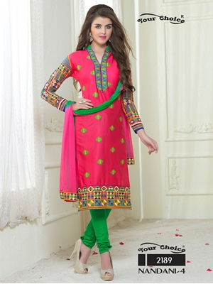 Picture of 2189BrightPink and Green Embroidered Glace Cotton Ocassional Wear Straight Suit