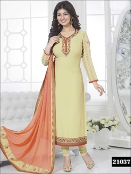 Picture of 21037LightYellow and LightOrange Faux Georgette Party Wear Straight Suit