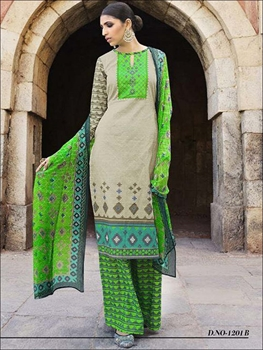 Picture of 1201B Desert and NeonGreen Lawn Cotton Daily Wear Plazzo Suit