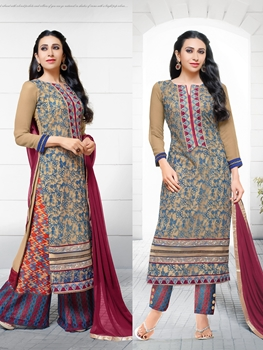 Picture of 78011SandyBrown Blue and Maroon Net with Georgette Party Wear Straight Suit