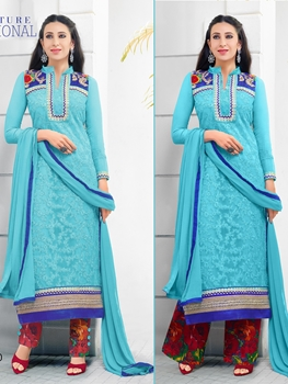 Picture of 78010SkyBlue and RoyalBlue Net with Georgette Party Wear Straight Suit