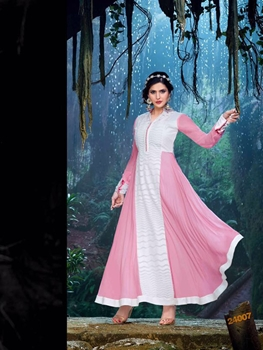Picture of 24007BabyPink and Ivory Semi Georgette Party Wear Designer Suit