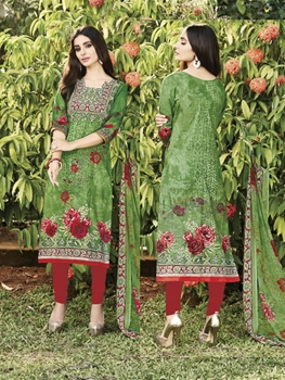 Picture of 37005A Mehandi Green and Red Coloured Straight Suit