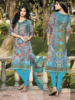 Picture of 37004A Firozi Blue and Multicoloured Straight Suit