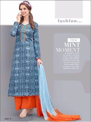 Picture of 3001A SteelBlue and FantaOrange Printed Cotton with Embroidered Party Wear Straight Suit