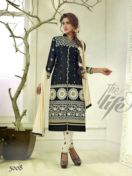 Picture of 3008Black and Cream Embroidered Glace Cotton Daily Wear Straight Suit