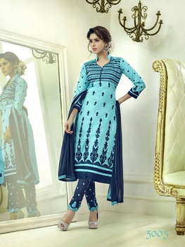 Picture of 3003AquaBlue and DarkBlue Embroidered Glace Cotton Daily Wear Straight Suit
