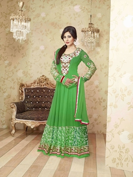 Picture of Parrot Green Embroidered Georgette Party Wear Anarkali Suit