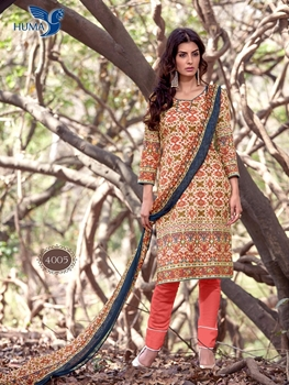 Picture of 4005Multicolor and SalmonRed Printed Cambric Salwar Suit