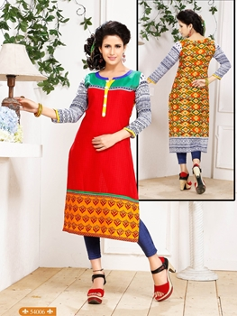 Picture of 54006Red and Orange Embroidered Printed Cotton Party Wear Stitched Kurti