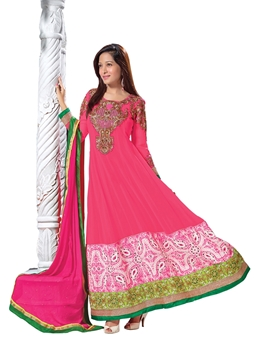 Picture of 3006DeepPink and OliveGreen Embroidered Georgette Party Wear Anarkali Suit