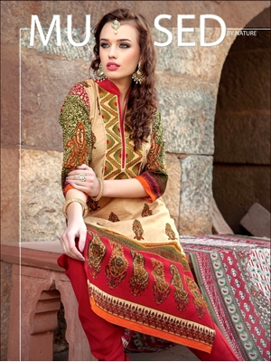 Picture of 0005Beige and Red Printed Cambric with Neck Work Daily Wear Designer Suit