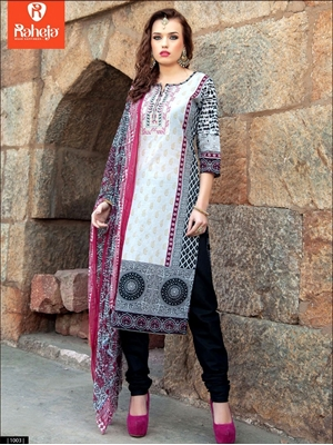 Picture of 0003White and Black Printed Cambric with Neck Work Daily Wear Designer Suit