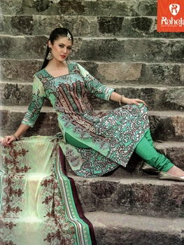 Picture of 1012Multicolor and SeaGreen Printed Cotton Daily Wear Straight Suit