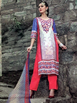 Picture of 1006White and CarrotRed Printed Cotton Daily Wear Straight Suit