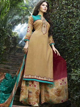 Picture of 5759 Sandy Brown Palazzo Suit