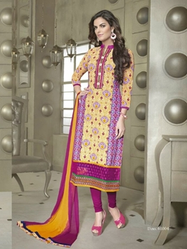 Picture of 61004TurmericYellow and Pink Cotton Party Wear/Daily Wear Straight Suit