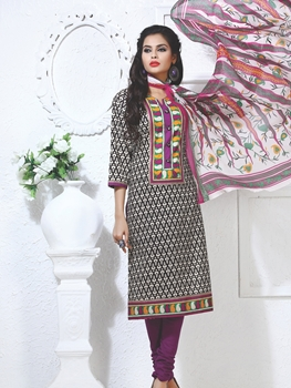 Picture of 2Black Green and Red Cotton Party Wear/Daily Wear Straight Suit
