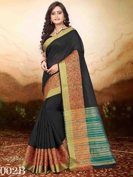 Picture of 002B Black Designer Jacquard Cotton Saree